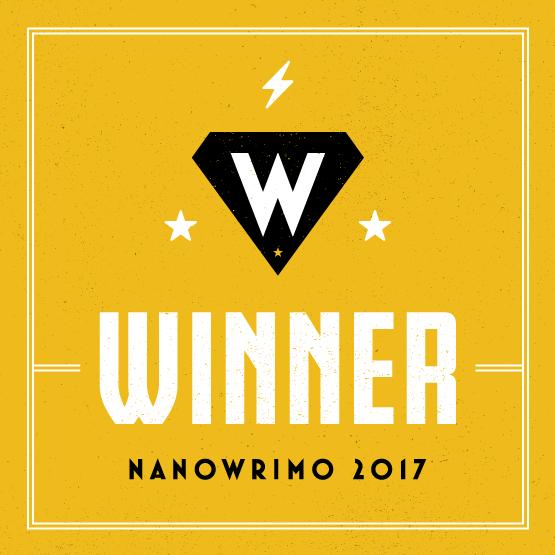 Als Gewinner des Nanowrimo, d.h. insgesamt mindestens 50.000 geschriebene Wörter, erhält der Teilnehmer eine Urkunde und diese wunderschöne Grafik | Ellas Schreibwelt